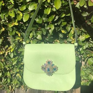 Juicy Couture Jeweled Leather Handbag - Pale Green